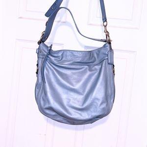 Coach Large Zoe Light Blue Leather Slouch Hobo
